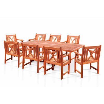 Malibu Wood 9-piece Outdoor Dining Set - V232SET17