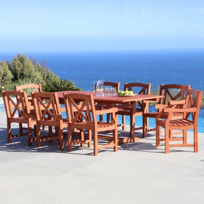 Malibu Wood 9-piece Outdoor Dining Set - V232SET35