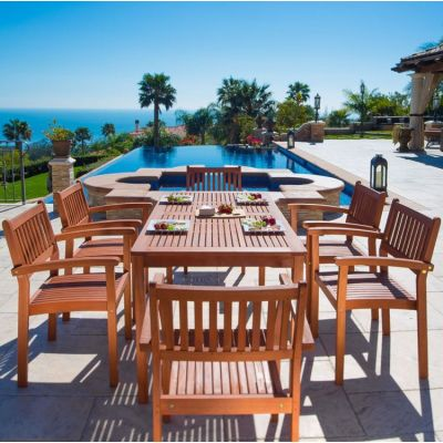 Malibu Wood 7-piece Outdoor Dining Set - V98SET10