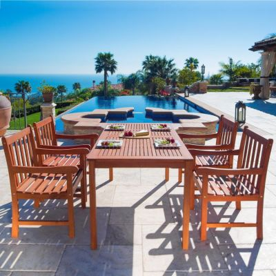 Malibu Wood 5-piece Outdoor Dining Set - V98SET15