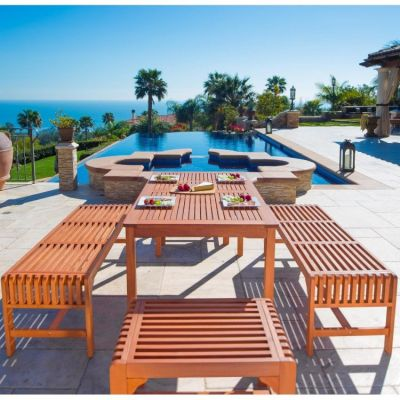 Malibu Wood 5-piece Outdoor Dining Set - V98SET36