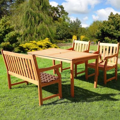 Malibu Wood 4-piece Outdoor Dining Set - V98SET37