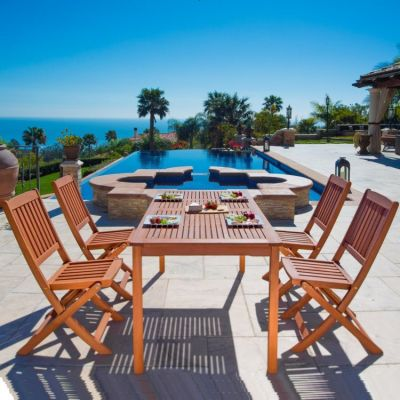Malibu Wood 5-piece Outdoor Dining Set - V98SET3