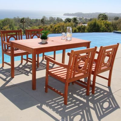 Malibu Wood 5-piece Outdoor Dining Set - V98SET40