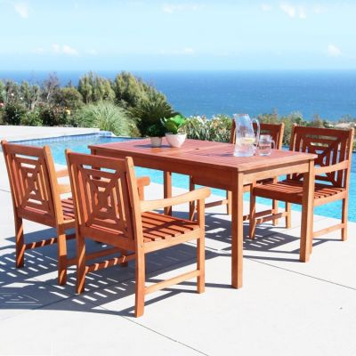 Malibu Wood 5-piece Outdoor Dining Set - V98SET42