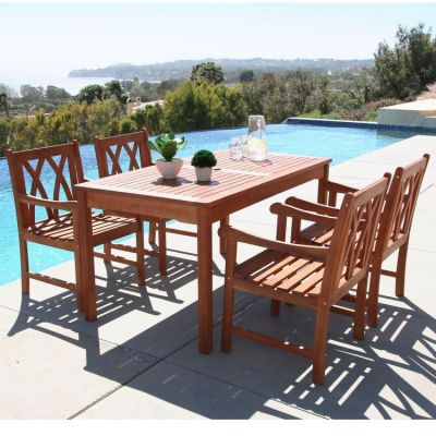 Malibu Wood 5-piece Outdoor Dining Set - V98SET44