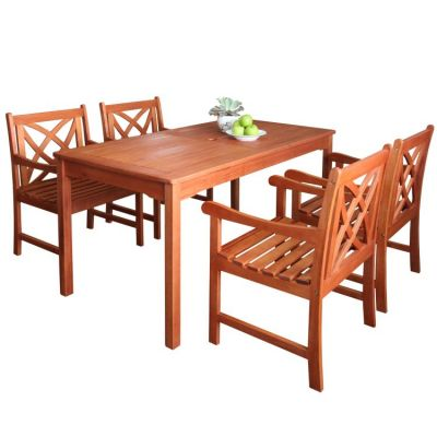 Malibu Wood 5-piece Outdoor Dining Set - V98SET6