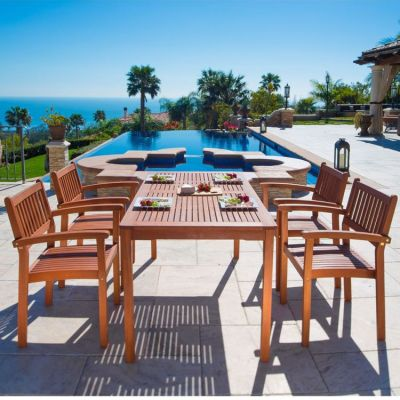 Malibu Wood 5-piece Outdoor Dining Set - V98SET9