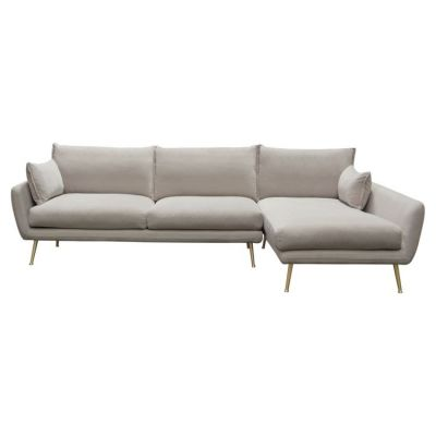 Vantage Sectional in Light Flax Fabric Feather Down Seating - VANTAGERF2PCSECTFL