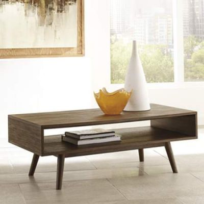 Kisper Rectangular Cocktail Table in Dark Brown - T802-1