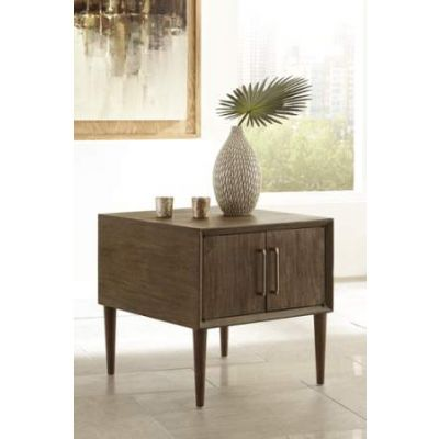 Kisper Square End Table in Dark Brown - T802-2