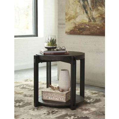 Winnieconi Round End Table in Black - T857-6