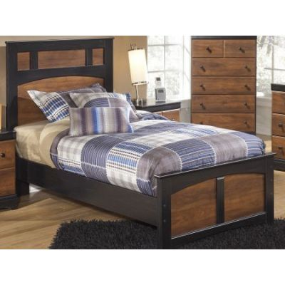 Aimwell Twin Panel Bed in Brown Wood - 001256_Kit