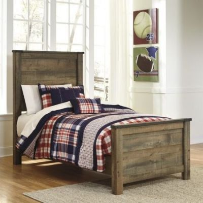 Trinell Wood Twin Panel Bed in Brown - 001282_Kit