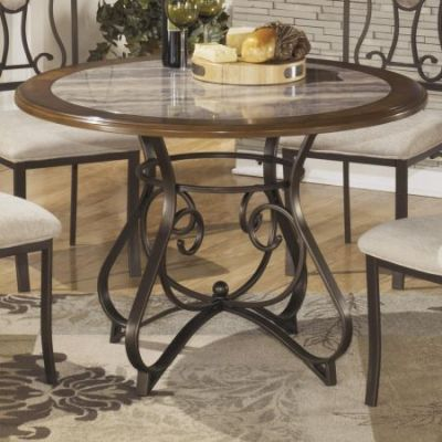 Hopstand Round Dining Table in Brown - 001307_Kit