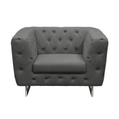 Catalina Tufted Accent Chair with Metal Leg in Gray - CATALINACHGR