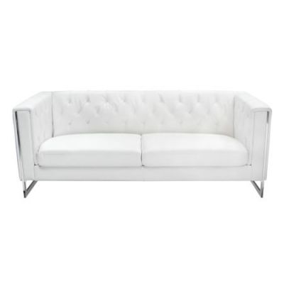 Chelsea Faux Leather Sofa with Metal Legs in White
