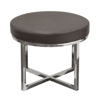 Ritz Round Leather Foot Stool in Gray - RITZSTEG