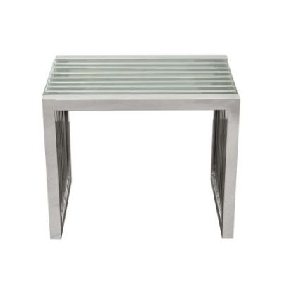 SOHO Rectangular Stainless Steel End Table with Clear Glass - SOHOETST