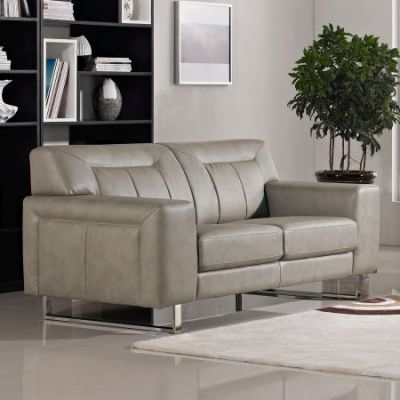 Vera Faux Leather Loveseat with Metal Leg in Sandstone - VERALOSS