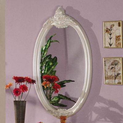 Pearl White Mirror - Oval - 01014