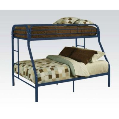 Blue Youth Metal Twin Full Bunk Bed - 02053BU