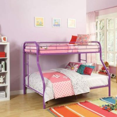 Tritan Twin/Full Bunk Bed with Purple Finish - 02053PU