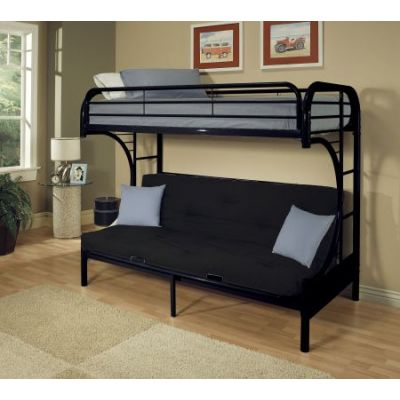 Eclipse Black metal Youth Twin Full Futon Bunk Bed - 02091W-BK