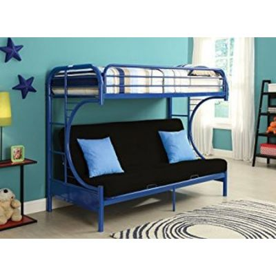 Eclipse Navy metal Youth Twin Full Futon Bunk Bed - 02091W-NV