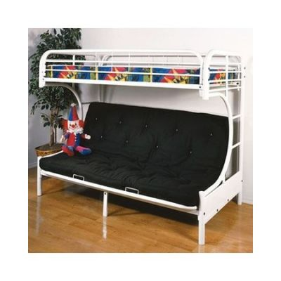 Eclipse White metal Youth Twin Full Futon Bunk Bed - 02091W-W