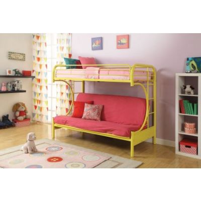 Eclipse Yellow metal Youth Twin Full Futon Bunk Bed - 02091W-YL