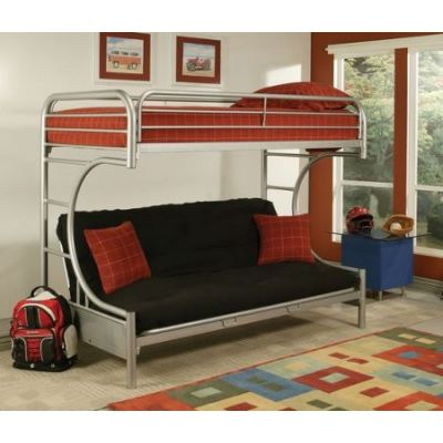 Eclipse Twin Over Queen Metal Kids Bunk Bed Silver - 02093SI
