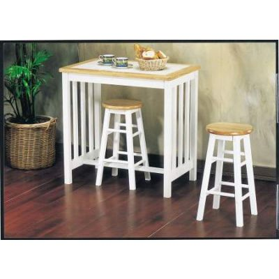 Metro 3 Piece Breakfast Set in Natural & White Tile Top - 02140NW