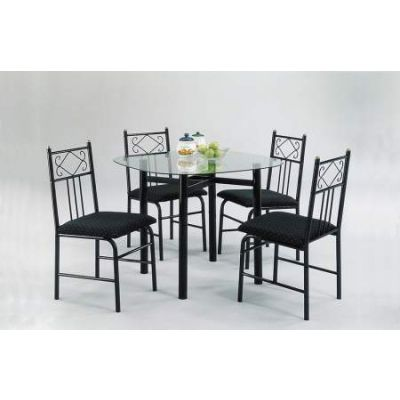 Penelope 5 Piece Stoneberry Dining Set in Black - 02520BK