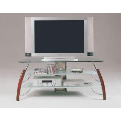 Martini TV Stand in Brown Cherry & Chrome - 02730