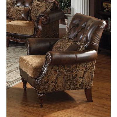 Dreena Chair with 1 Pillow in PU & Chenille - 05497