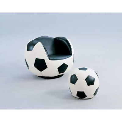All Star Chair & Ottoman in Soccer: White & Black - 05525
