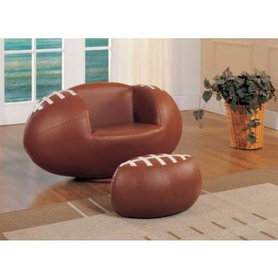All Star Chair & Ottoman in Football: Brown & White - 05526