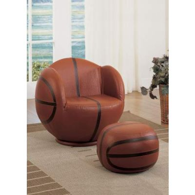 All Star Chair & Ottoman in Basketball: Brown & Black - 05527