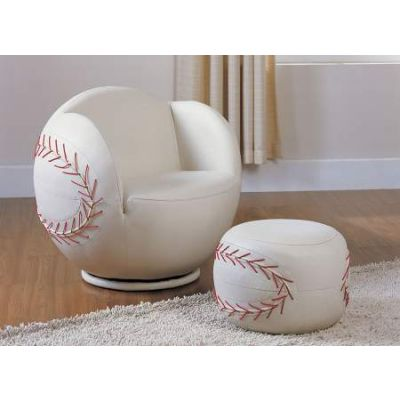 All Star Aaron's Chair & Ottoman in Baseball: White - 05528