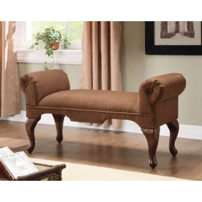 Aston Bench with Rolled Arm in Chocolate Mfb - 05626