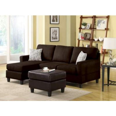 Vogue Sectional Sofa (Reversible Chaise) in Chocolate Mfb - 05907