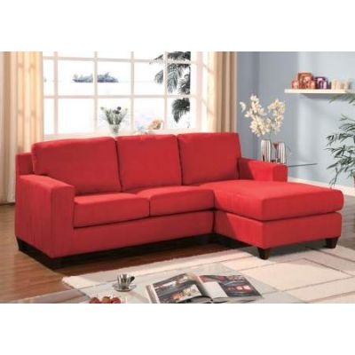 Vogue Sectional Sofa (Reversible Chaise) in Red Mfb - 05917