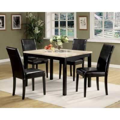 Portland 5 Piece Stoneberry Dining Set in White & Black