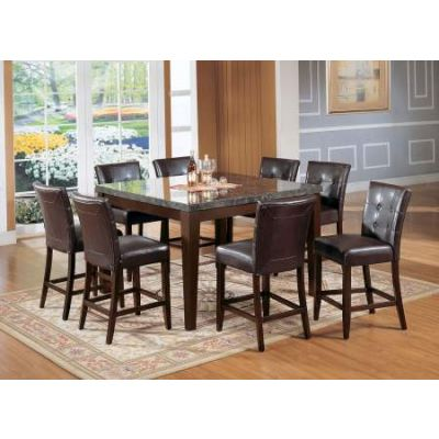 Danville Counter Height Table in Black Marble & Walnut - 07059