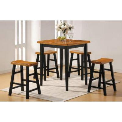 Gaucho 5 Piece Stoneberry Counter Height Set in Oak & Black - 07285