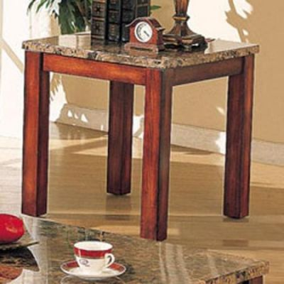 Bologna End Table in Brown Marble and Brown Cherry - 07373B