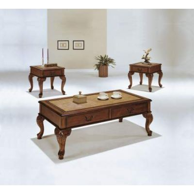 Trudeau 3 Piece Coffee/End Table Set in Cherry - 09652