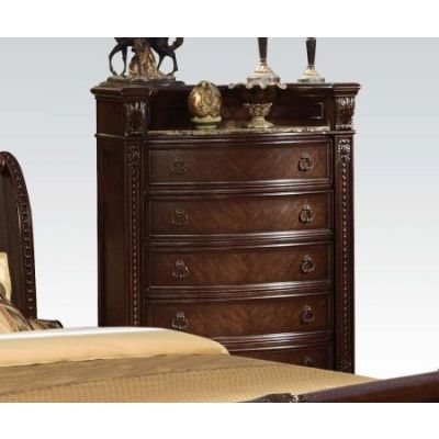 Anondale Traditional Cherry Marble Top Chest - 10316