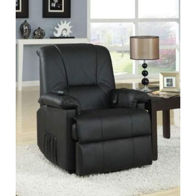 Reseda Recliner with Power Lift & Massage in Black PU - 10650